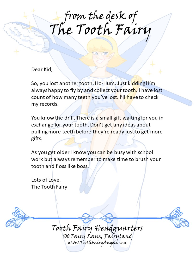 Tooth Fairy Angels Letters | Tooth Fairy Angels