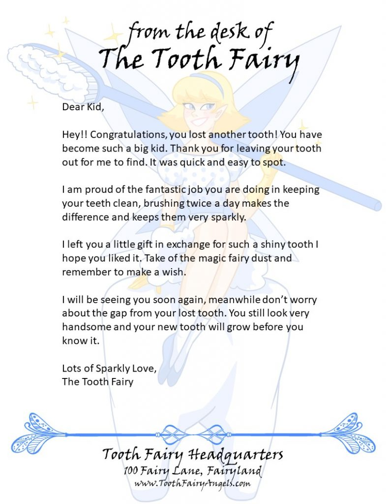 tooth fairy writing template - tooth fairy angels letters tooth fairy angels