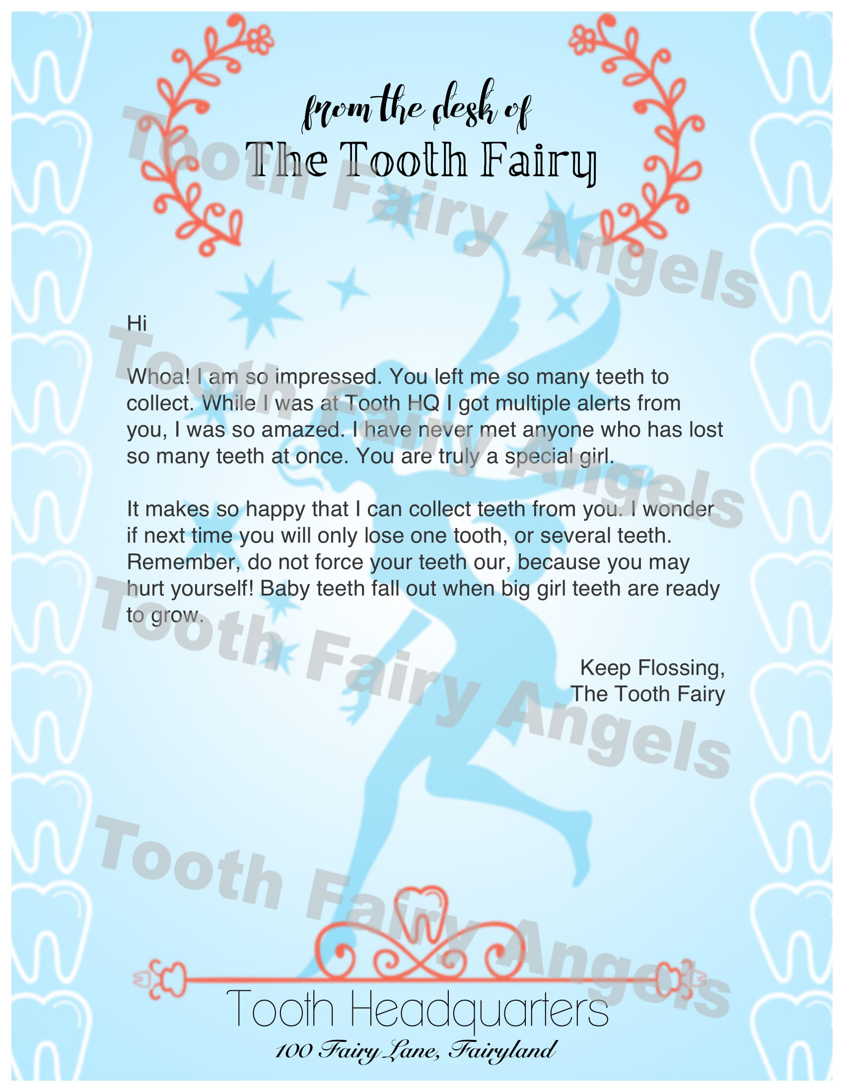 Tooth fairy angels letters tooth fairy angels for Fairy letters