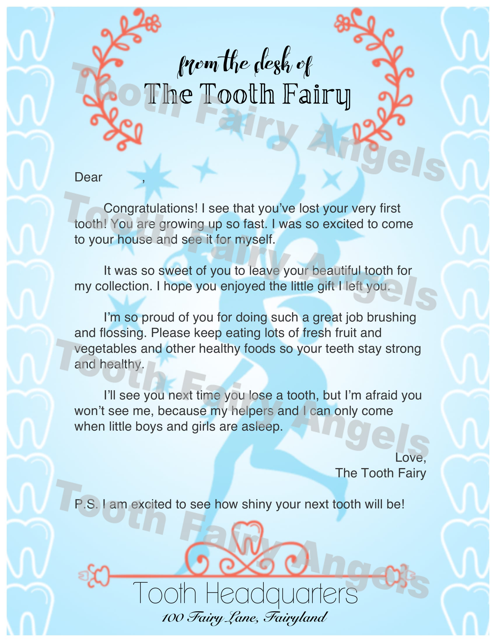 Letter To Tooth Fairy First Tooth