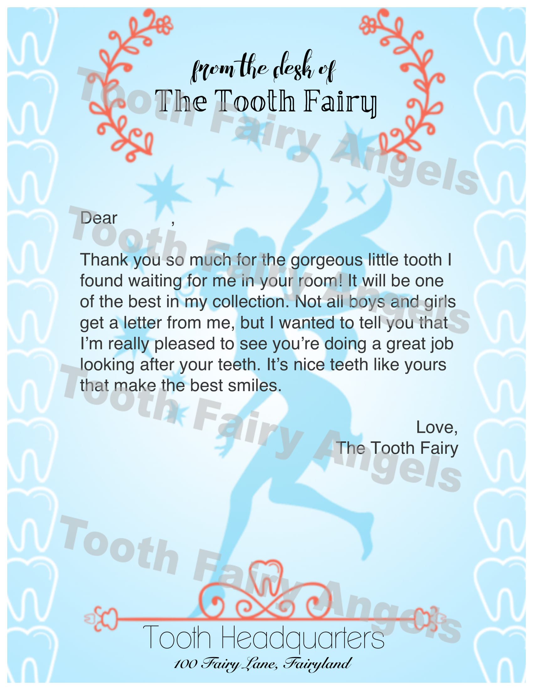 Tooth Fairy First Letter
