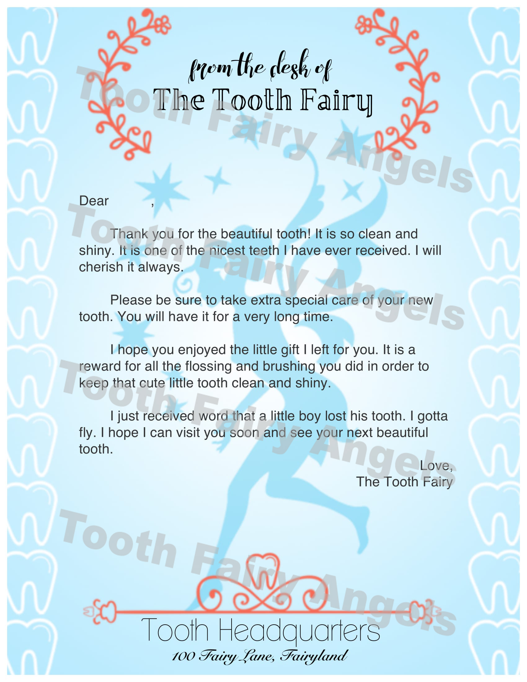 Tooth fairy angels letters tooth fairy angels for Fairy letters to child